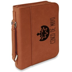 Cinco De Mayo Leatherette Bible Cover with Handle & Zipper - Large- Single Sided (Personalized)