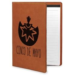 Cinco De Mayo Leatherette Portfolio with Notepad - Large - Single Sided (Personalized)