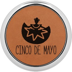 Cinco De Mayo Leatherette Round Coaster w/ Silver Edge - Single or Set (Personalized)