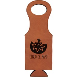 Cinco De Mayo Leatherette Wine Tote (Personalized)