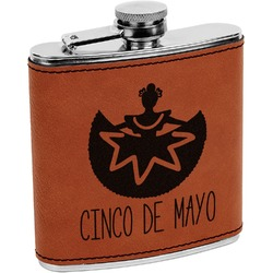 Cinco De Mayo Leatherette Wrapped Stainless Steel Flask (Personalized)