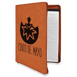 Cinco De Mayo Leatherette Zipper Portfolio with Notepad (Personalized)