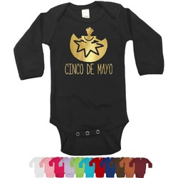 Cinco De Mayo Foil Bodysuit - Long Sleeves - 0-3 months - Gold, Silver or Rose Gold (Personalized)