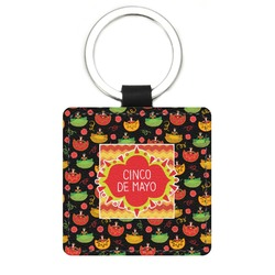 Cinco De Mayo Genuine Leather Rectangular Keychain (Personalized)