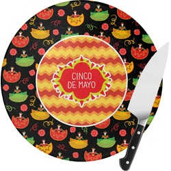 Cinco De Mayo Round Glass Cutting Board (Personalized)