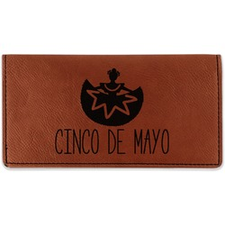 Cinco De Mayo Leatherette Checkbook Holder - Double Sided (Personalized)