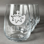 Cinco De Mayo Stemless Wine Glasses (Set of 4) (Personalized)