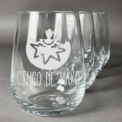 Cinco De Mayo Wine Glasses (Stemless Set of 4) (Personalized)