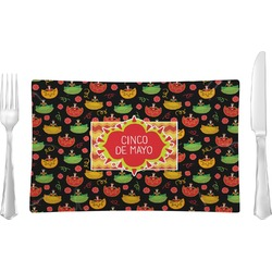 Cinco De Mayo Rectangular Glass Lunch / Dinner Plate - Single or Set (Personalized)