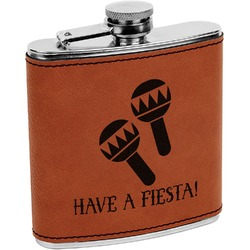 Fiesta - Cinco de Mayo Leatherette Wrapped Stainless Steel Flask (Personalized)