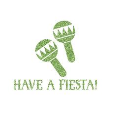 Fiesta - Cinco de Mayo Glitter Iron On Transfer- Custom Sized (Personalized)