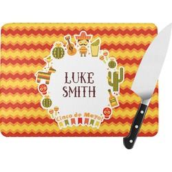 Fiesta - Cinco de Mayo Rectangular Glass Cutting Board (Personalized)