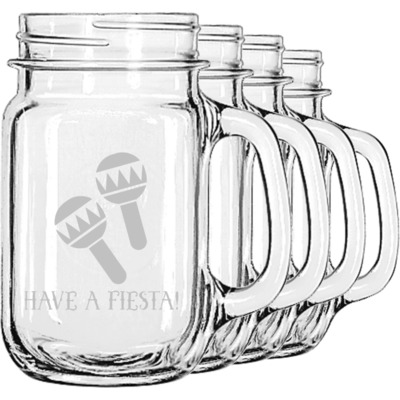Fiesta - Cinco de Mayo Mason Jar Mugs (Set of 4) (Personalized)