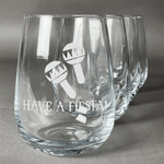 Fiesta - Cinco de Mayo Stemless Wine Glasses (Set of 4) (Personalized)