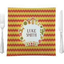 """Fiesta - Cinco de Mayo 9.5"""" Glass Square Lunch / Dinner Plate- Single or Set of 4 (Personalized)"""