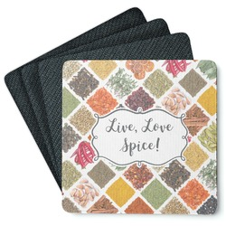 Spices 4 Square Coasters - Rubber Backed (Personalized)