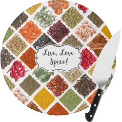 Spices Round Glass Cutting Board (Personalized)