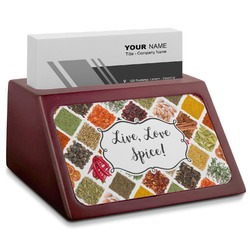 Spices Red Mahogany Business Card Holder (Personalized)