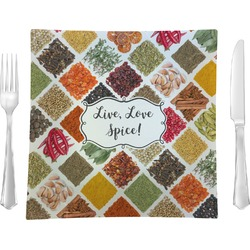 "Spices 9.5"" Glass Square Lunch / Dinner Plate- Single or Set of 4 (Personalized)"