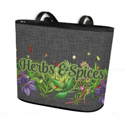 Herbs & Spices Bucket Tote w/ Genuine Leather Trim (Personalized)