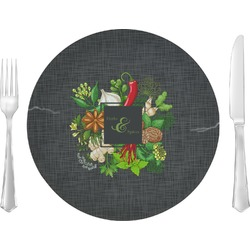 """Herbs & Spices 10"""" Glass Lunch / Dinner Plates - Single or Set (Personalized)"""