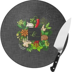 Herbs & Spices Round Glass Cutting Board (Personalized)