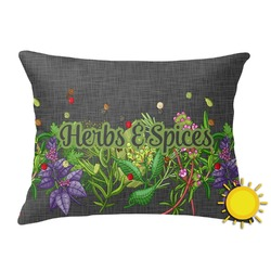 Herbs & Spices Outdoor Throw Pillow (Rectangular) (Personalized)