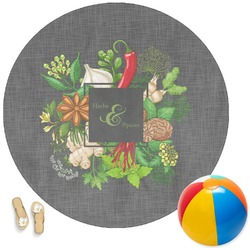 Herbs & Spices Round Beach Towel (Personalized)