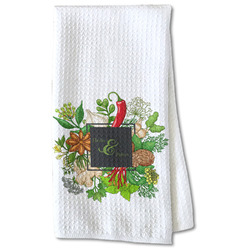 Herbs & Spices Waffle Weave Kitchen Towel - Partial Print