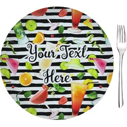 """Cocktails Glass Appetizer / Dessert Plates 8"""" - Single or Set (Personalized)"""