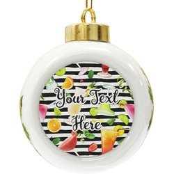 Cocktails Ceramic Ball Ornament (Personalized)