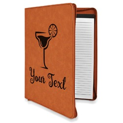 Cocktails Leatherette Zipper Portfolio with Notepad (Personalized)