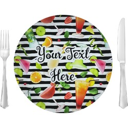 """Cocktails 10"""" Glass Lunch / Dinner Plates - Single or Set (Personalized)"""