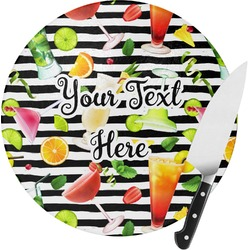 Cocktails Round Glass Cutting Board (Personalized)