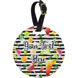 Cocktails Plastic Luggage Tag - Round (Personalized)
