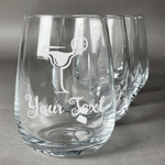 Cocktails Stemless Wine Glasses (Set of 4) (Personalized)