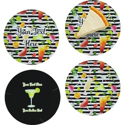 """Cocktails Set of 4 Glass Appetizer / Dessert Plate 8"""" (Personalized)"""
