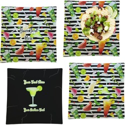"""Cocktails Set of 4 Glass Square Lunch / Dinner Plate 9.5"""" (Personalized)"""