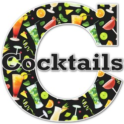 """Cocktails Name & Initial Decal - Up to 18""""x18"""" (Personalized)"""