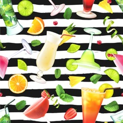 """Cocktails Wallpaper & Surface Covering (Peel & Stick 24""""x 24"""" Sample)"""