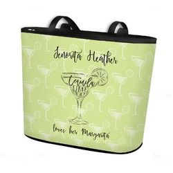 Margarita Lover Bucket Tote w/ Genuine Leather Trim (Personalized)