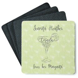 Margarita Lover 4 Square Coasters - Rubber Backed (Personalized)