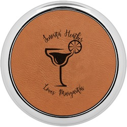 Margarita Lover Leatherette Round Coaster w/ Silver Edge - Single or Set (Personalized)