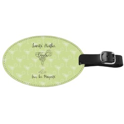 Margarita Lover Genuine Leather Oval Luggage Tag (Personalized)