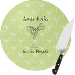 Margarita Lover Round Glass Cutting Board (Personalized)