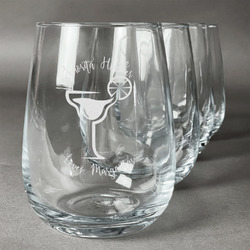 Margarita Lover Stemless Wine Glasses (Set of 4) (Personalized)