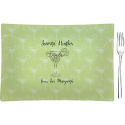Margarita Lover Glass Rectangular Appetizer / Dessert Plate - Single or Set (Personalized)