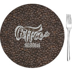 """Coffee Addict Glass Appetizer / Dessert Plates 8"""" - Single or Set (Personalized)"""