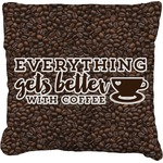 Coffee Addict Faux-Linen Throw Pillow (Personalized)