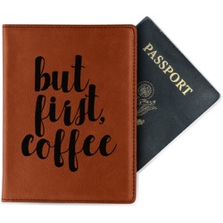 Coffee Addict Leatherette Passport Holder (Personalized)